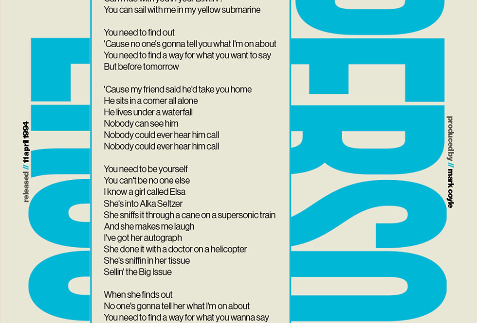 Supersonic Oasis Lyrics Poster Definitely Maybe Art Print