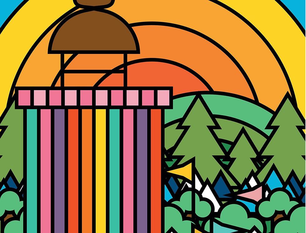 Glastonbury Festival Poster Art Print Ribbon Tower