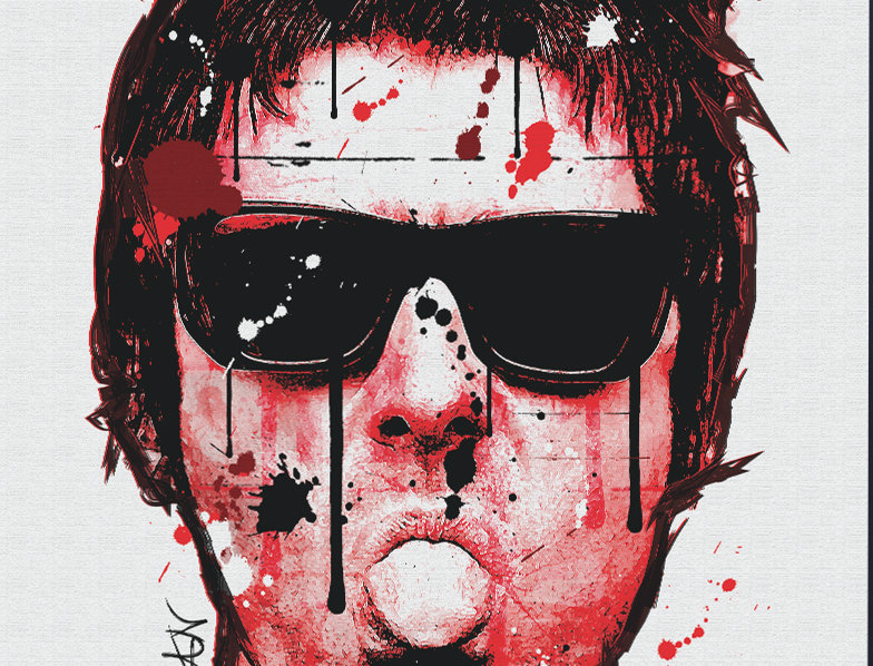 Liam Gallagher Red Moon Graffiti  Poster Art Print