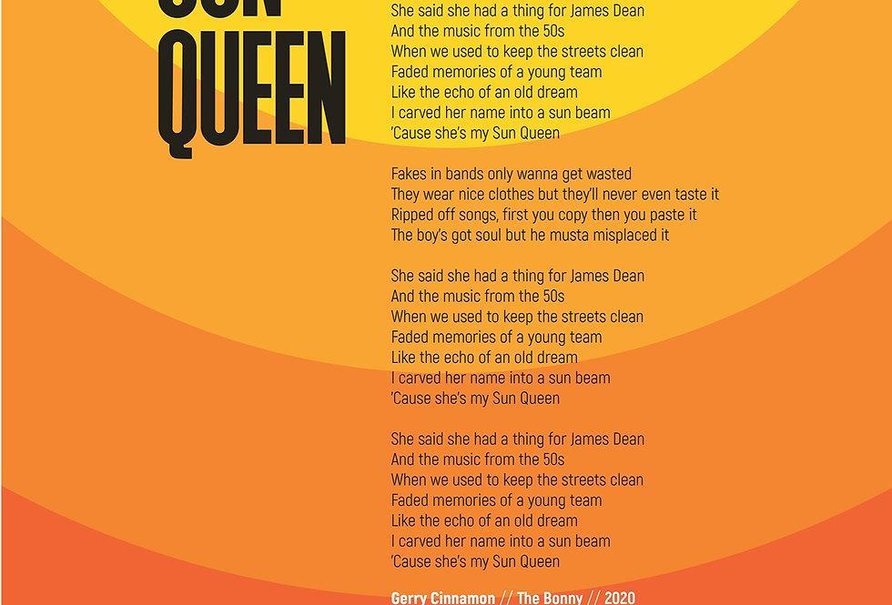 Gerry Cinnamon Poster Art Print Modernist Sun Queen Lyrics