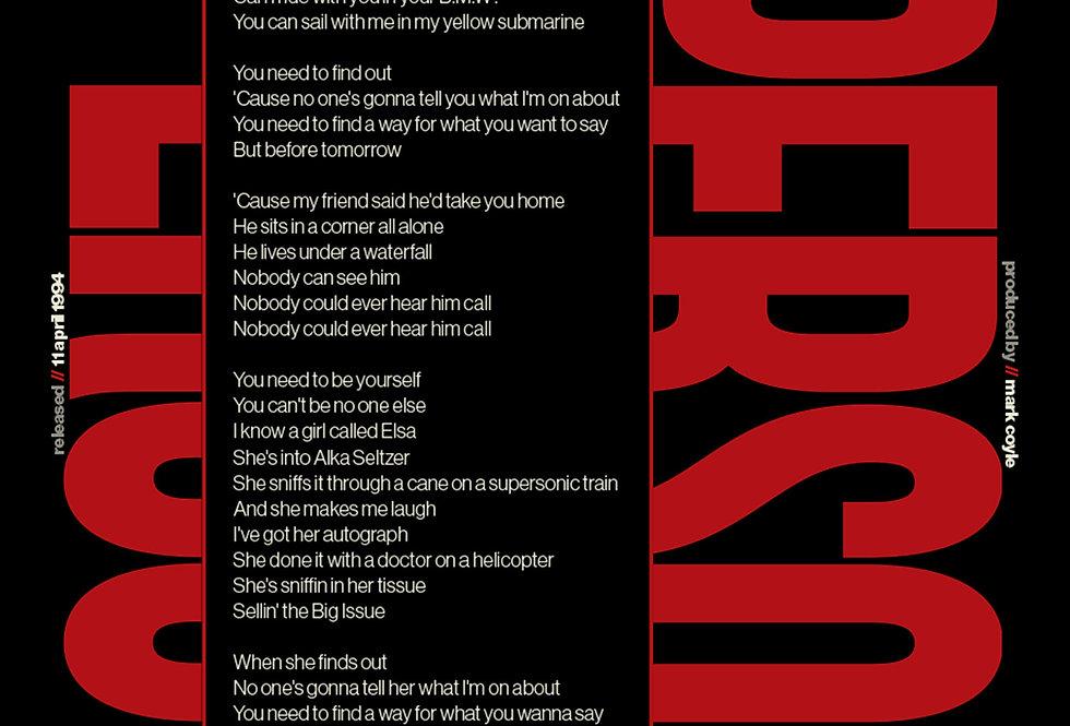 Supersonic Oasis Lyrics Poster Definitely Maybe Art Print Red
