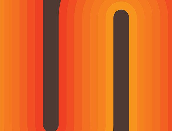 Retro Lounge Orange Bends 60s Love Poster Art Print