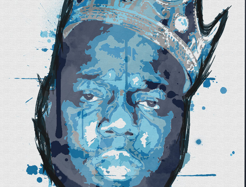 Biggie Smalls Graffiti Blue Crown Poster Art Print