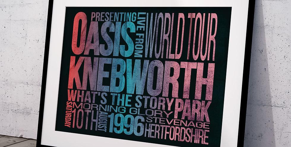Knebworth Letterpress Style Oasis Gig Poster Print