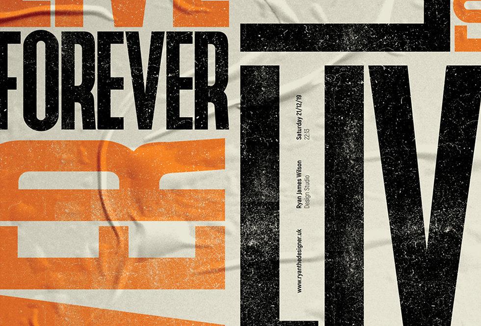 Live Forever Britpop Poster Definitely Maybe Art Print Orange