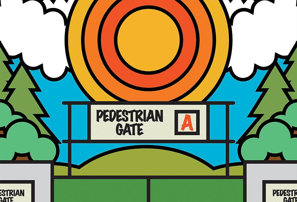 Pedestrian Gate A Glastonbury Festival Poster Art Print