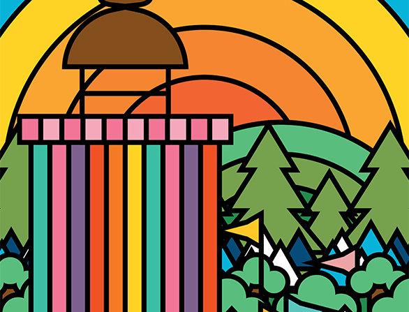 Glasto Ribbon Tower Poster Art Print