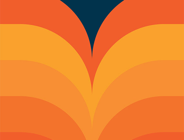 Retro Lounge Orange Waves 60s Love Poster Art Print