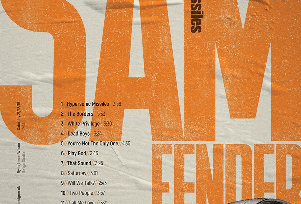 Sam Fender Hypersonic Missiles Tracklist Grunge Art Print