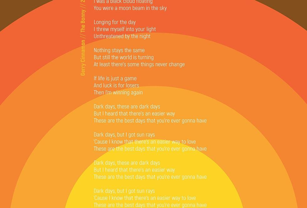 Gerry Cinnamon Poster Art Print Modernist Dark Days Lyrics