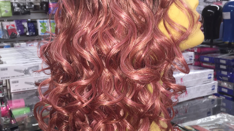 Center Part Pink Curly Mermaid