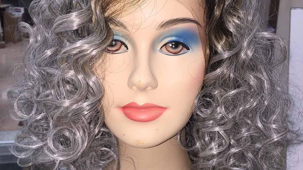 Sassy Silver Curls with Dark Brown Roots Lacefront