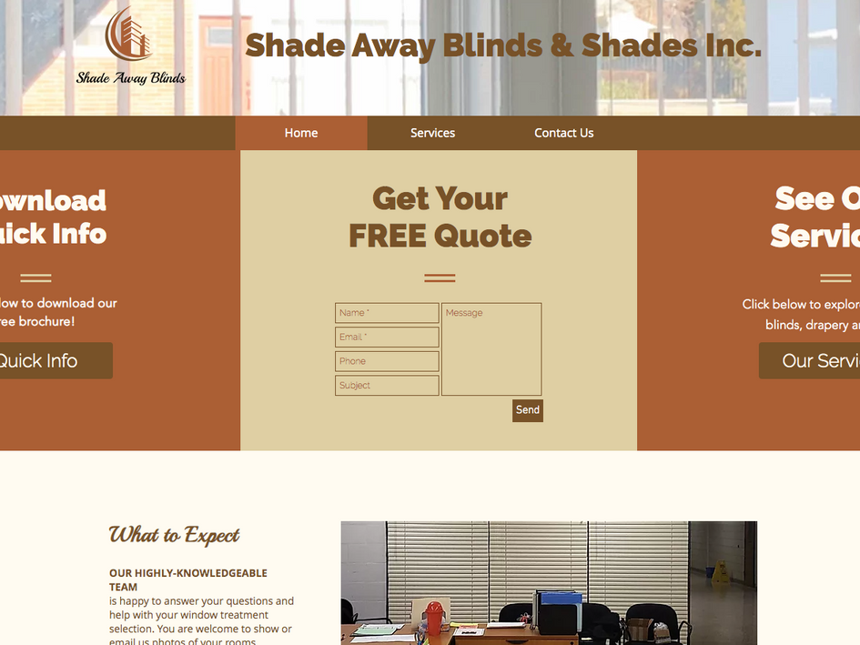 Shade Away Blinds Website