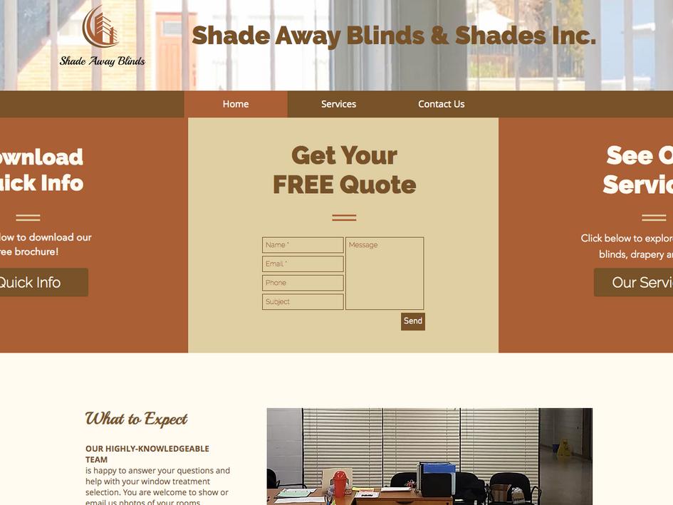 Shade Away Blinds Website