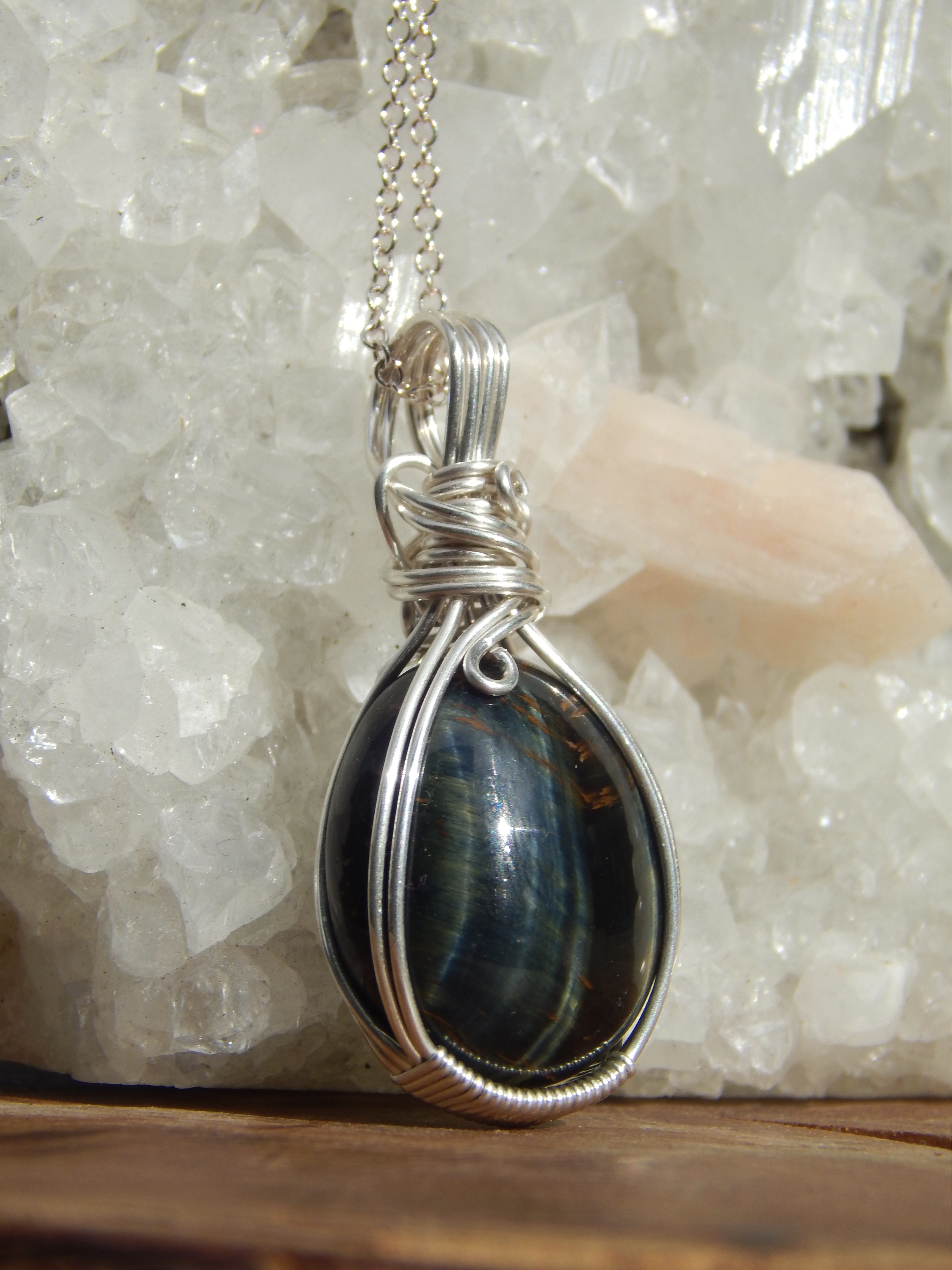Blue Tigers Eye in Sterling Silver
