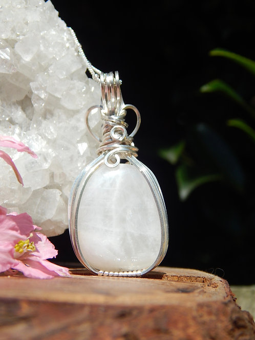 Rainbow Moonstone Amulet in .925 Sterling Silver