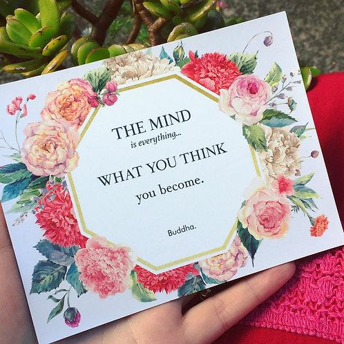 Meditative Flower Fridge Magnet with Buddha Quote