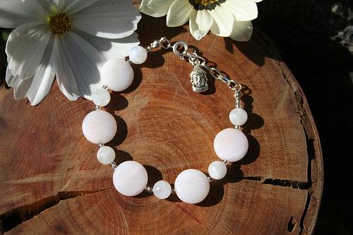 Mangano Calcite & Rainbow Moonstone Bracelet