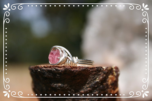Faceted Pink Tourmaline Ring in .925 Sterling Silver