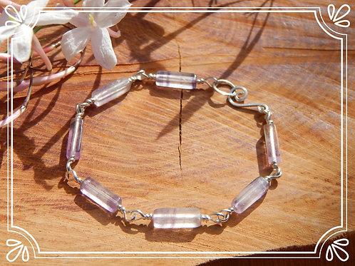 Rainbow Fluorite Wire-Wrapped Bracelet in .925 Sterling Silver