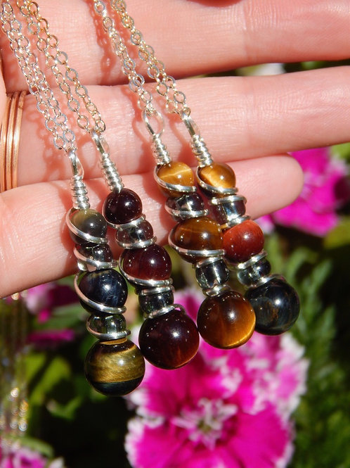 Blue, Red, & Gold Tigers Eye Potion Pendants in .925 Sterling Silver