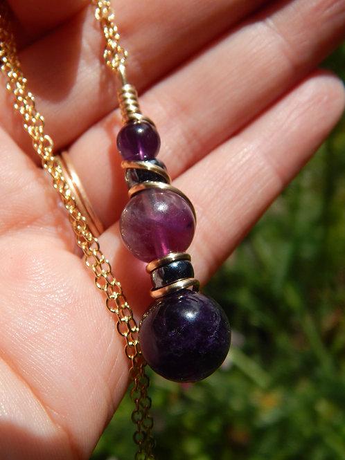 Amethyst & Purple Fluorite Potion Pendant in 12k Gold-Fill with Czech Glass