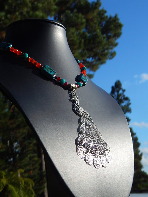 Carnelian & Faceted Red Agate Peacock Necklace