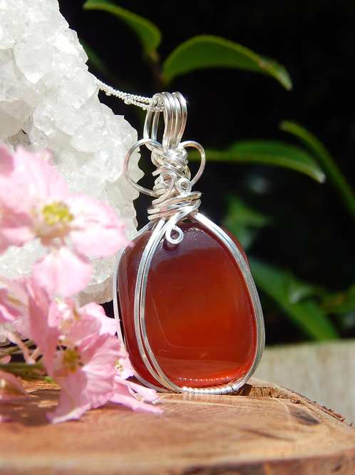 Red Agate Amulet in .925 Sterling Silver