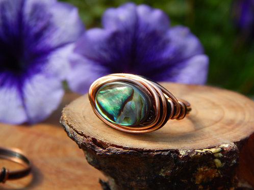 Large Paua Ring in Two Tone Copper