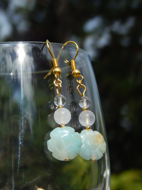 Amazonite Flowers, Rose Quartz, & Fluorite Earrings