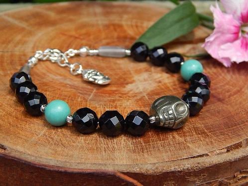 Iron Pyrite, Agate, Turquoise & Moonstone Bracelet