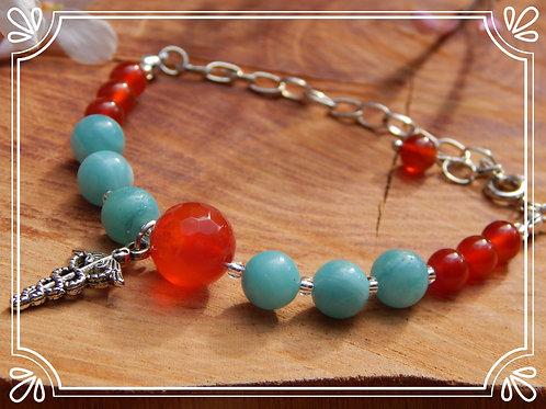 Amazonite & Carnelian Bracelet with Caduceus