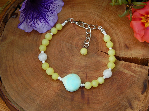 Blue Opal, Rainbow Moonstone & Jade Bracelet