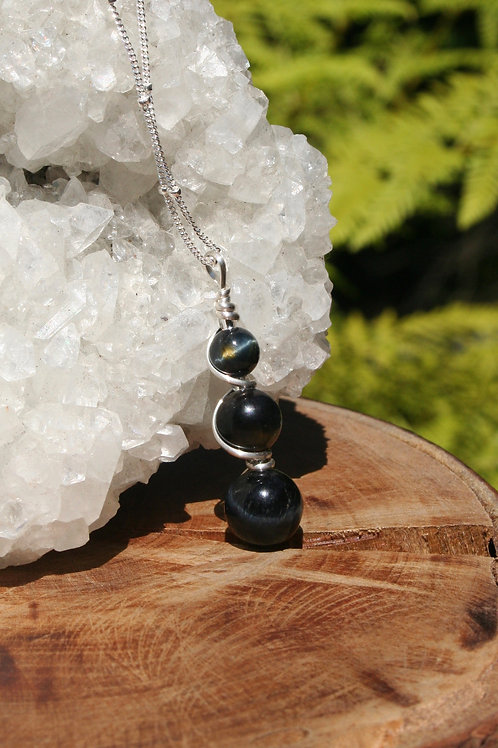 Blue Tigers Eye Potion Pendant in .925 Sterling Silver