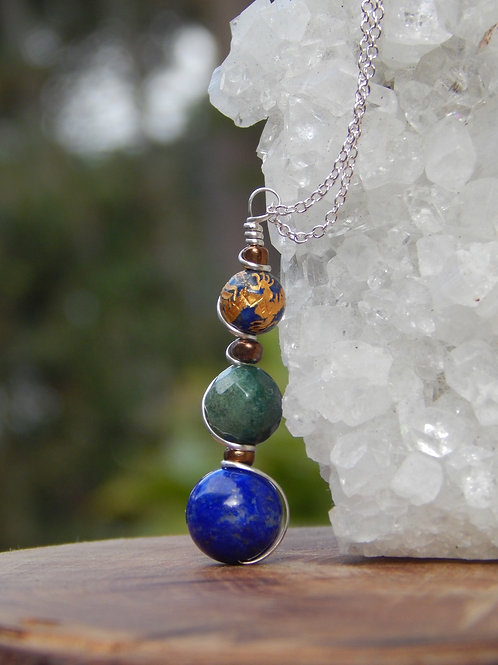 Lapis Lazuli & Faceted Moss Agate in .925 Sterling Silver