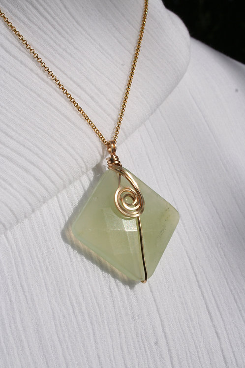 Faceted New Green Jade in 12k Gold-Fill