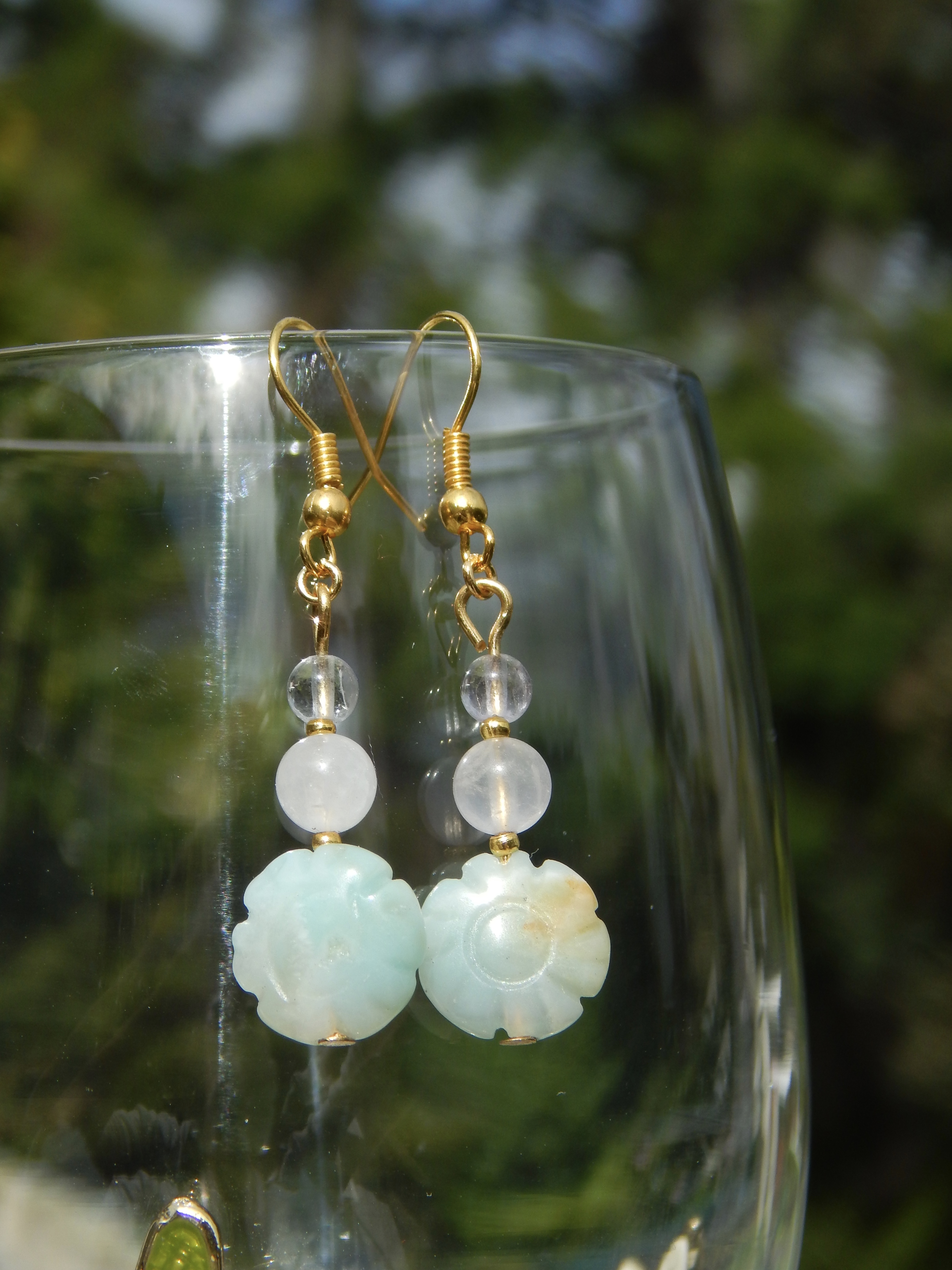 Amazonite Flower Earrings