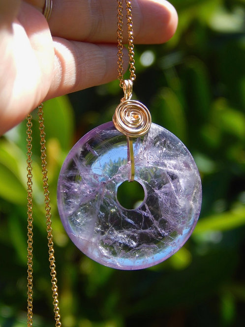 Large Amethyst Donut Amulet in 12k Gold-Fill