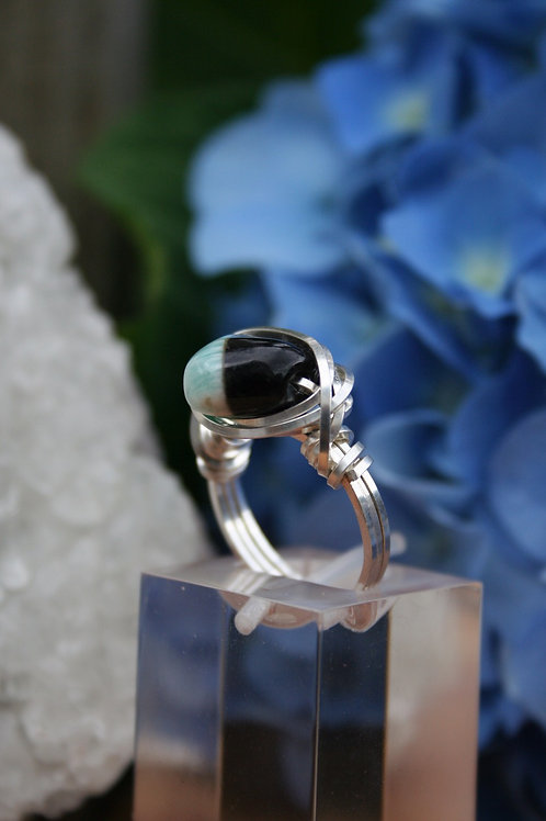 Black & Blue-Green Tourmaline Ring in .925 Sterling Silver