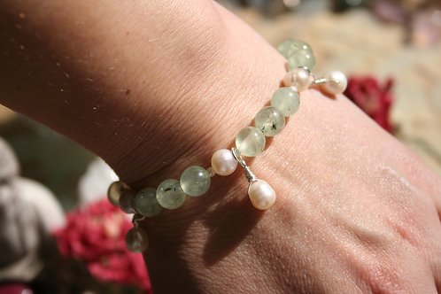 Prehnite & Pearls in Argentium & Sterling Silver