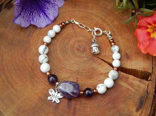 Amethyst & White Howlite Bracelet