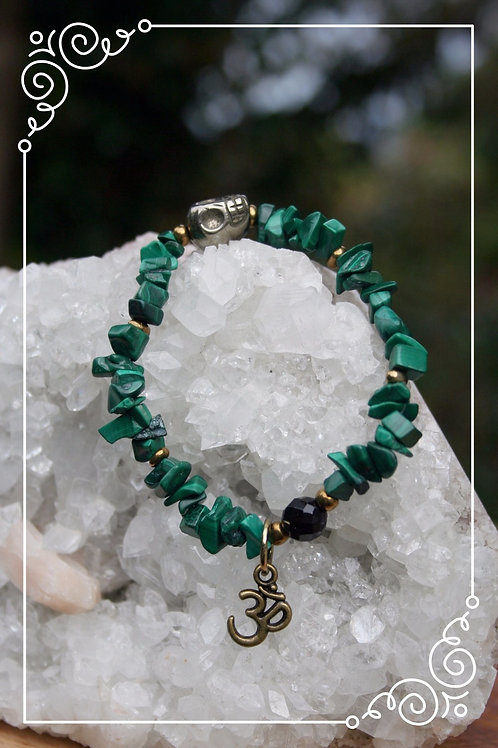 Malachite, Agate, and Iron Pyrite Stretchy Bracelet