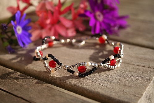 Faceted Red Agate & Baroque Freshwater Pearl Woven Bracelet