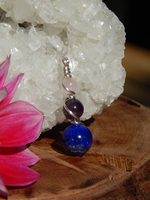 Lapis Lazuli, Amethyst, and Rose Quartz in Sterling Silver