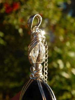 Nuummite & Herkimer Diamond Amulet