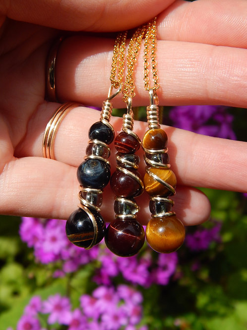 Blue, Red, or Gold Tigers Eye & Czech Glass Potion Pendant in 12k Gold-Fill