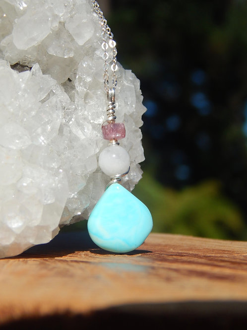 Blue Opal, Rainbow Moonstone, & Faceted Pink Tourmaline .925 Sterling Silver