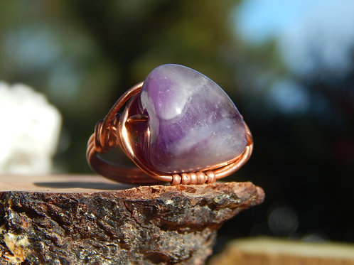 Chevron Amethyst Ring in Copper