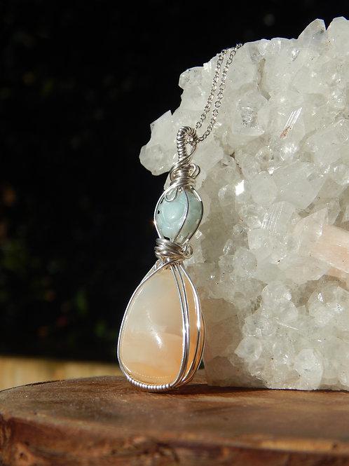 Peach Moonstone & Amazonite in .935 Argentium Silver