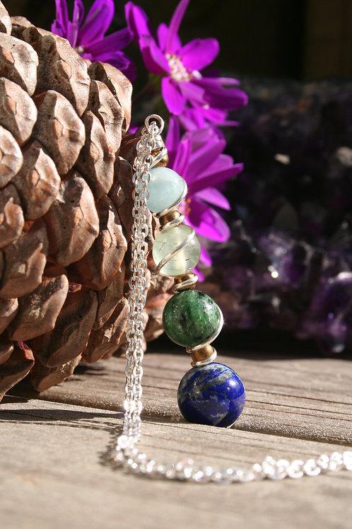 Aquamarine, Prehnite, Ruby & Zoasite, Lapis Lazuli Pendant in Argentium Silver